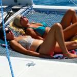Sunbathing on trampoline